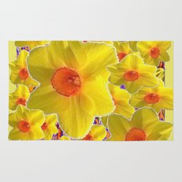 YELLOW-GOLD DAFFODILS FLOWER COLLAGE Rug