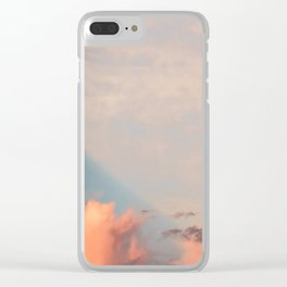 Blue Sky with Orange Clouds Clear iPhone Case