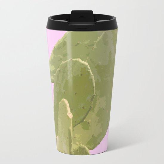 Green cactus on a pink background Metal Travel Mug