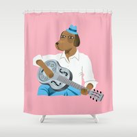 the hound Shower Curtains featuring Hound Dog Slim by Oliver Lake
