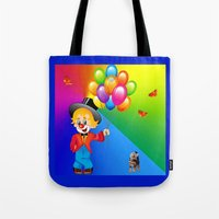 clown Tote Bags featuring Clown by Art-Motiva