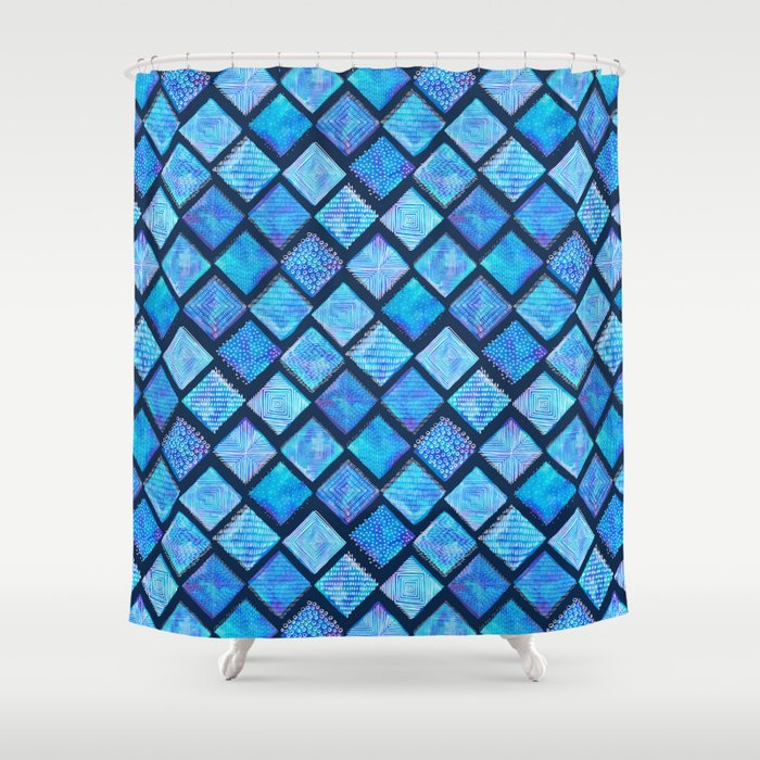 Blue Watercolor Tiles With White Texture Shower Curtain By Marketastengl