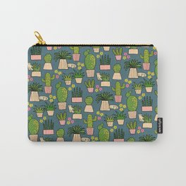Cactus Cat Blue Carry-All Pouch