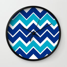 Big Chevron:  Blue + Turquoise Wall Clock