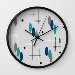 Ovals and Starbursts Teal Wall Clock