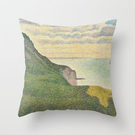 Georges Seurat - Seascape at Port Throw Pillow