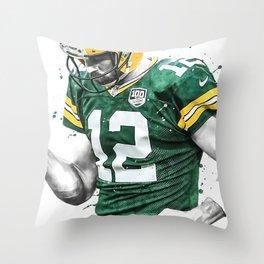 Aaron Rodgers poster, Football print, Sports wall art, Kids room decor, Man Cave, Gift Throw Pillow