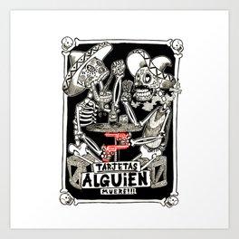 two skeletons gambling Art Print
