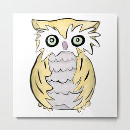 Cute Watercolor and Ink Owl Print Watercolor Painting Metal Print