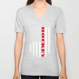 Patriotic Hockey Player - Flag Unisex V-Neck