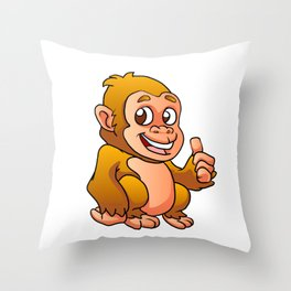 baby gorilla cartoon Throw Pillow