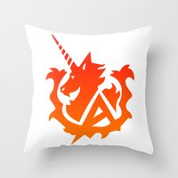 gundam Throw Pillows featuring Amuro Hi Nu Gundam Emblem by Nanico