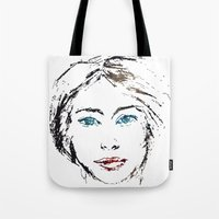 no face Tote Bags featuring face by Artemio Studio