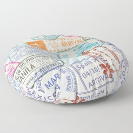 Vintage World Map with Passport Stamps Floor Pillow