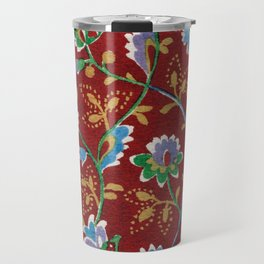 Red Folk Floral Travel Mug