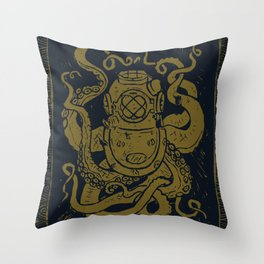 Mark V Octopus - gold Throw Pillow