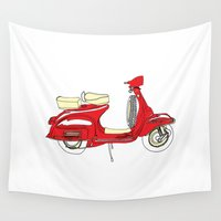 vespa Wall Tapestries featuring Shiny Red Vespa Scooter by bluebutton studio