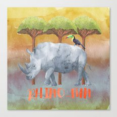 RHINO - FUN - rhinoceros Watercolor Illustration Canvas Print