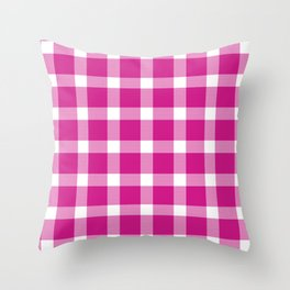 Plaid Hot Pink Throw Pillow