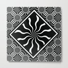 Wavy Black and White Diamond Pinwheels and Stripes 2 Digital Illustration Artwork Metal Print