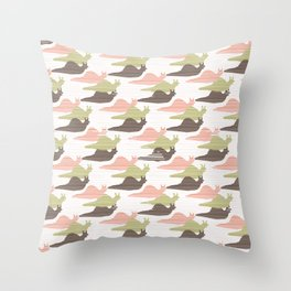 Pink and Green Snail Race Silhouette Seamless Throw Pillow