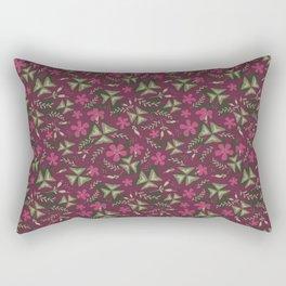 Shamrock Floral Layered Pattern / Purple Rectangular Pillow