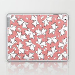 The pattern of butterflies. White butterflies on a pink background. Laptop & iPad Skin