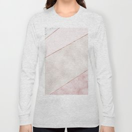 Spliced mixed pink marble and rose gold Long Sleeve T-shirt