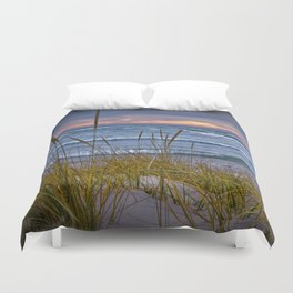 Sunset Photograph of a Dune with Beach Grass at Holland Michigan No 0199 Duvet Cover