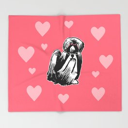 Longhaired Shih Tzu Illustration Throw Blanket