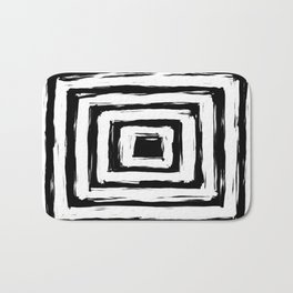 Minimal Black and White Square Rectangle Pattern Bath Mat