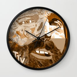 """Faces - Petty"" by Blackard, Boehm, Fiche, Livengood, & McCarthy - Monochrome Wall Clock"