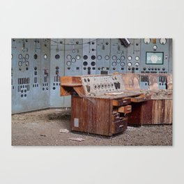 Derelict Control Room Desk Canvas Print