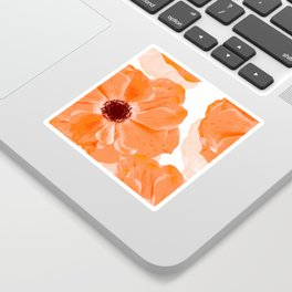 Beautiful Coral Color Flowers White Background #decor #society6 #buyart Sticker