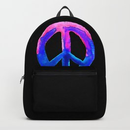 Pink Blue Watercolor Tie Dye Peace Sign Backpack