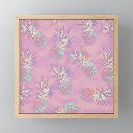 Pink Pineapple Pattern Framed Mini Art Print