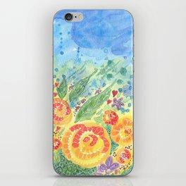 Flower Fields. Watercolor Garden. Sandy Thomson iPhone Skin