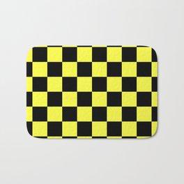 Black and Yellow Checkerboard Pattern Bath Mat