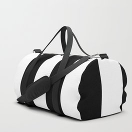 Midnight Black and White Vertical Cabana Tent Stripes Duffle Bag