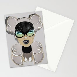 Mugshot 4:00 am Surreal Graffiti Girl Portrait with Glasses Stationery Cards