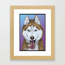 Husky Colourful Framed Art Print