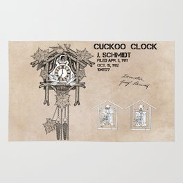 Cuckoo clock patent art Rug