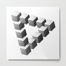 Impossible 3D Triangular Pattern of Cubes Metal Print