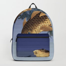 Hokusai – two carps -葛飾 北斎,engraving,carpa, fish. Backpack