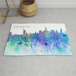 New York City Skyline Silhouette Impressionistic Splash Rug
