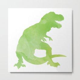 Watercolor Dinosaur Pattern White Green Blue Metal Print