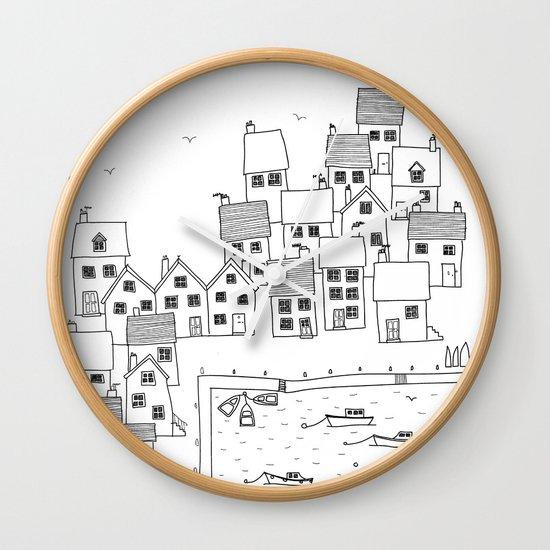 Harbour sketch Wall Clock