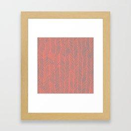 Living Coral Herringbone Gray Framed Art Print