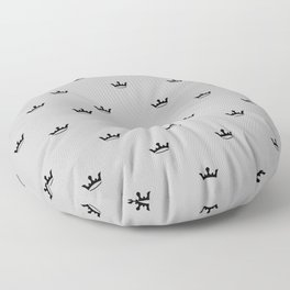 Black Crown pattern on Light Grey background Floor Pillow