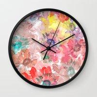 matty healy Wall Clocks featuring Flower carpet(32). by Mary Berg